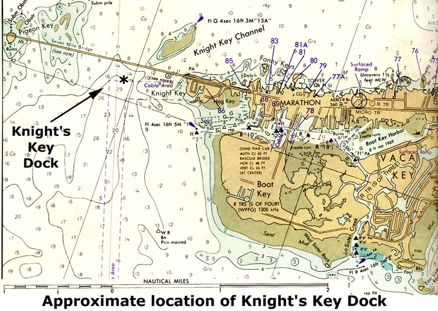 History of knights key dock about mid way to key west was a dead end deep channel in moser channel just south of knights key click on the map to enlarge the portion of a color gumiabroncs Image collections